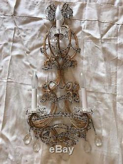 Antique Vintage Crystal Wall Sconce from Marlboro Man Estate in AZ
