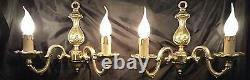 Antique Vintage French Art Nouveau Chandelier Bronze Wall Lamps Sconces Gilded