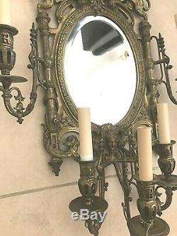Antique Vintage French Brass Bronze Lions Crest Mirror Wall Sconce Girandole LG