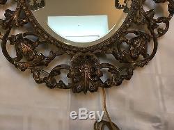Antique Vintage French Directoire Brass Bronze Figural Cherub Mirror Wall Sconce