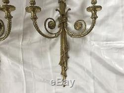 Antique Vintage French Empire Neoclassical Pair Bronze Brass Wall Sconces 28