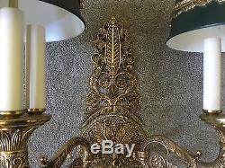 Antique Vintage French Empire Tole Brass Wall Sconce Bouillotte Lamp LAST ONE