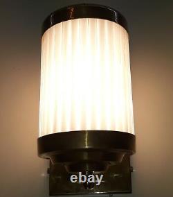 Antique Vintage Old Art Deco Brass & Glass Rod Light Fixture Wall Sconces Lamp