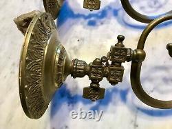 Antique Vintage Pair Of Gilded Brass Art Deco/Nouveau Wall Sconces Light Fixture