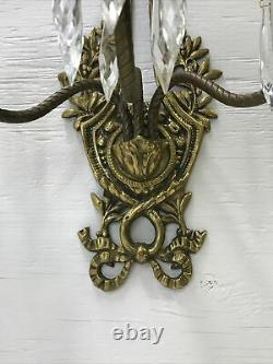 Antique Vtg French Louis XVI Style Crystal Candle Wall Sconces Pair Ornate Birds