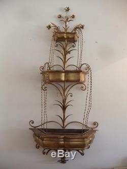 Antique Vtg Italian Gold Gilt Metal Tole Flower Wood Wall Pocket Sconce Planter