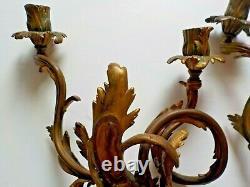 Antique Vtg Pair Goldtone Double Candle Wall Sconce Sconces