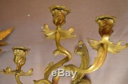 Antique Wall Hanging Sconces Pair Gold