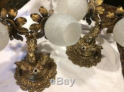 Antique Wall Sconce Pair Neo-Classical Brass Winged Putti Electric 2 Arm Light