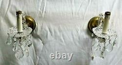 Antique Wall Sconces pair electric crystal gold tone hollywood regency two lamp