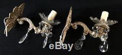 Antique and pretty pair of wall sconces in bronze and cristal