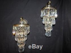 Antique brass crystal pair Empire wall sconces 1 light each wedding cake
