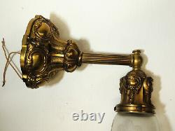 Antique c1910 vtg Victorian Early Electric WALL SCONCE Light Lamp & Glass Shade