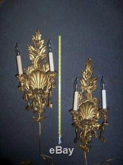 Antique carved Gilt wood Wall candle sconces, flowers and shells electrified but