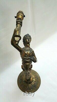 Antique ormolu mermaid wall gas sconce, ideal conversion to electricity project