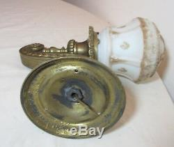 Antique ornate Empire gilt bronze industrial electric wall sconce fixture brass