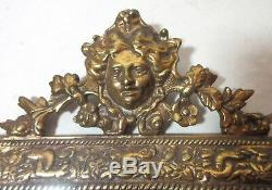Antique ornate figural gilt brass wall mount mirror glass hanger hook sconce