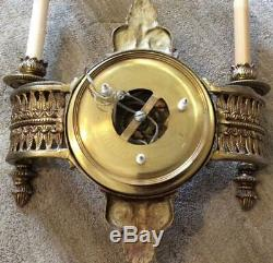 Antique pair set 2 HEAVY brass Wall Sconces Lamps lights sheraton french empire