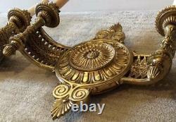 Antique set 2 Bronze & 24K Gold Gilt Wall Sconces lights french empire electric