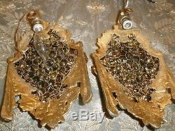 Antique set of 2 wall sconces brass basket flower grape wall light