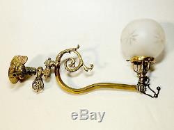 Antique vtg 19th Century Victorian Brass GAS LIGHT Wall Sconce & Cut Glass SHADE