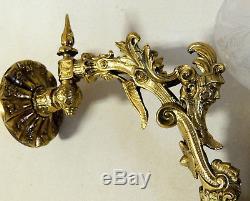 Antique vtg Bronze Rococo Figural GAS LIGHT Wall Sconce Lamp Cornelius & Baker