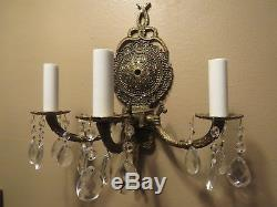 Antqiue Brass Wall Sconce Vintage French Electric 3 Light Lamp Crystal Prisms