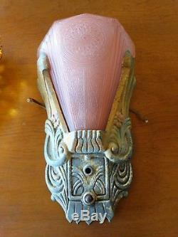 Art Deco Antique pink frosted Glass Slip Shade Wall Sconce light Fixture