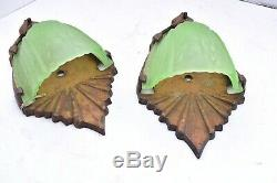 Art Deco Markel Antique Glass Slip Shade Wall Sconce Fixture Vintage Pair set 2
