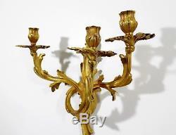 Art Deco Rococo Pair of Gold Gilt Bronze Wall Sconces Candelabras Louis XV