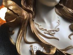 Art Nouveau Figural Head Bust Wall Sconce Lamp Reproduction