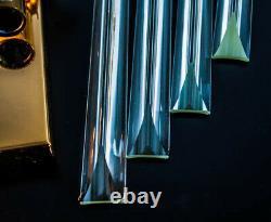 Astonishing Pair (2) Venini Style Crystal Glass Brass Wall Sconces 1970s