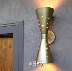 Atomic 50's 60's style mid-century modern bow tie dual wall sconce lamp GOLD