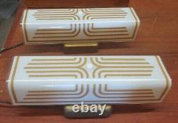 Atomic Mid Century Wall Sconces White Glass With Starburst Gold Design