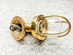 Authentic Vintage Petit Swan Neck Bulkhead Brass Wall Sconce / Cage Light