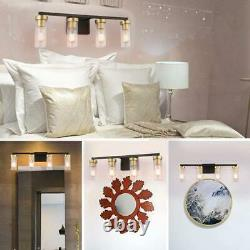 BDL Vanity Light Fixture 4 Lights Wall Sconce Black Gold Base Clear Glass
