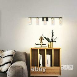 BDL Vanity Light Fixture 5 Lights Wall Sconce Black Gold Base Clear Glass