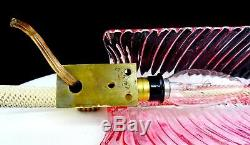 Barovier & Toro Murano Art Glass Pink & Gold Feather 12 1/2 Wall Sconce 1940-50
