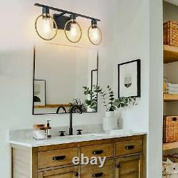 Bathroom Vanity 3 Light Fixture Sconce Modern Wall Black Gold Metal Indoor Decor