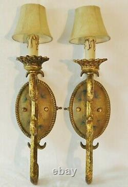 Beautiful PAIR Vintage Electric Antique Gold Flower Wall Light Sconces with Shades