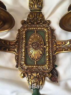 Beautifully Unique Antique Regency Electric Wall Sconces