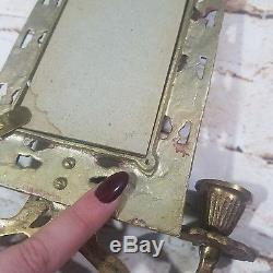 Bradley & Hubbard Cast Brass Mirror Wall Sconce Mythical Fish Gothic Dolphin Vtg