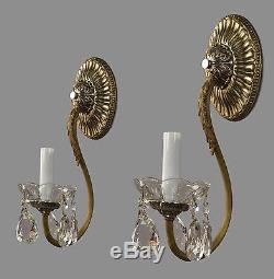 Brass & Crystal Regency Style Sconces c1930 Vintage Antique Restored Wall Lights