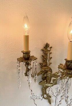 Bronze Brass 3 Arm Sconces w Prisms Wall Lamps