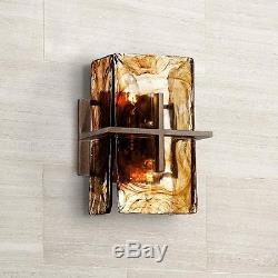 Bronze Vintage Rustic Industrial Gold Art Glass Panel Wide Wall Light Sconce