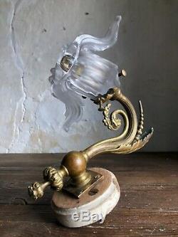 C1900 Antique French Gilt Bronze Wall Light. Napoleon iii. Original Glass Shade