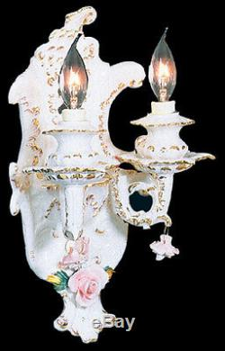 Capodimonte Made in Italy Wall Light Sconce 2 Lights White & Gold Finish -New