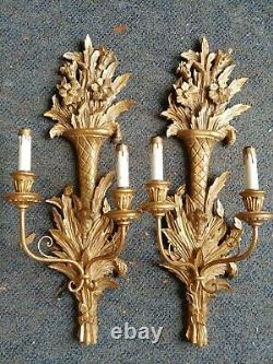 Circa 1950 Pair Italian Carved Wall Sconces 25 1/2 Inches High