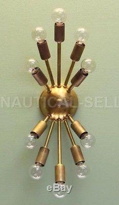Classic sputnik Antique Patina Brass wall sconce, light fixture