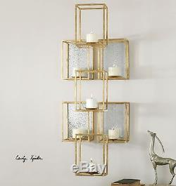 Contemporary Stacked Cubes Candle Wall Sconce Gold Geometric